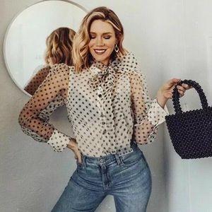 Zara organza button down blouse with bow